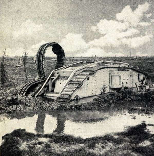 Tank bogged close to St Julien after a hopeless attempt to cross a sea of mud