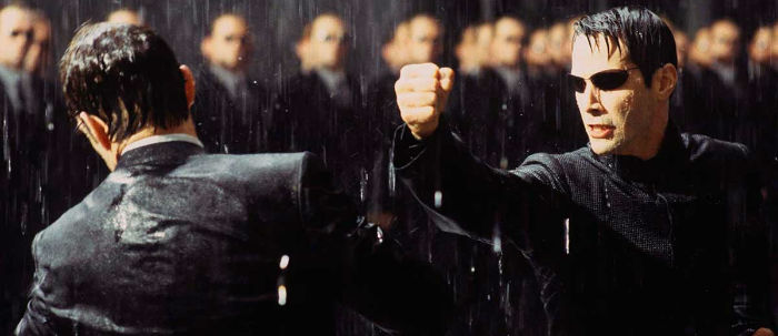 Keanu Reeves and Hugo Weaving in The Matrix Revolutions 2003 1200x520 w700